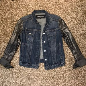 Blue jean jacket with silver detailed sleeves